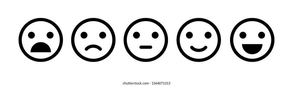 Emoji icon set of satisfaction level. Simple feedback in form of emotions in flat style. Customer feedback. Range to assess the emotions Excellent, good, normal, bad, awful symbols Vector illustration - Shutterstock ID 1564071313