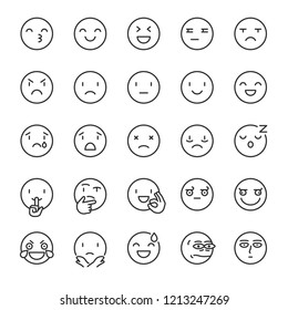 Emoji, icon set. Smile, linear icons. Includes positive, negative emotions and such as refusal, silence, thinking etc. Line with editable stroke
