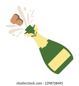 Emoji, icon, vector graphic: Bottle With Popping Cork