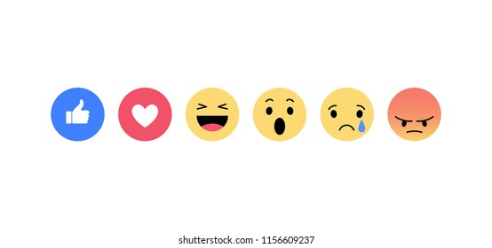 Emoji icons. Funny faces with different emotions. Isolated. Vector illustration.