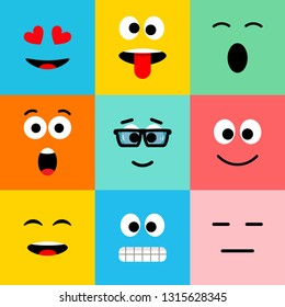 Emoji icons. Funny faces with different emotions. Flat cartoon style pattern. Vector illustration. EPS 10