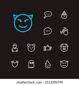 Emoji icons. Set of animal emoji, emoji fire and thumb up vector sign symbols. Vector illustration of hello emoticons set for logo web mobile design