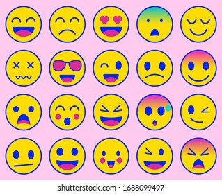 Emoji icons set. Emoticon for messenger, social media, web. Flat design. Vector illustration