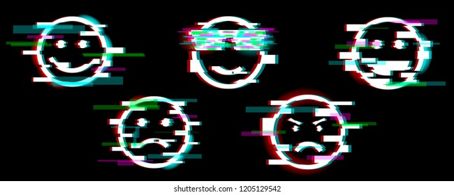 Emoji icons. Set of smile with different emotions: fun, sad, cool, angry, laugh. Glitch effect. Design element for banner, flyer, greeting card. Vector.