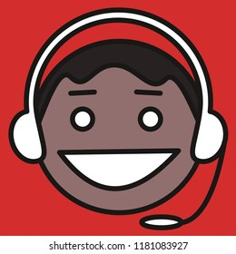 emoji with indian customer support guy that is wearing a headset, smiling man wearing headphones and a microphone answering the call of a client to solve technical issue, simple colored emoticon