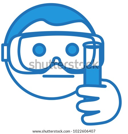 emoji laboratory assistant holding flask chemical stock vector