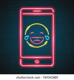 Emoji Laugh with Phone Symbol Neon Light Glowing Graphic Vector