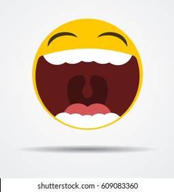 Emoji laughing out loud in a flat design