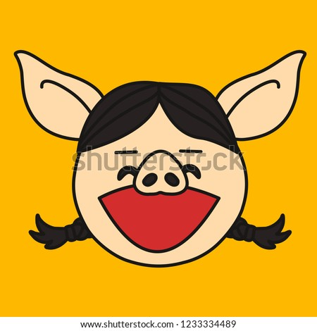 emoji laughing out loud pig woman stock vector royalty