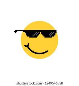 emoji like a boss with smirk. concept of hipster or trendy people and thug life or tgif meme. flat cartoon trend modern minimal 8bit expression logotype graphic design element isolated on white