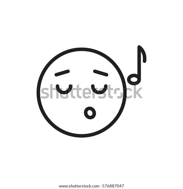 Emoji Listening Music Icon Illustration Isolated Stock