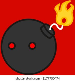 emoji with a living cannonball or ball shaped bomb with red eyes & burning safety fuse with fire on a tip, simple colored emoticon, simplistic colorful pictogram, funny cartoon character from a set