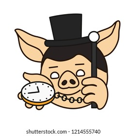emoji with London dandy pig in a high society top hat that is holding watch on a chain & a cane, english gentleman showing what time is it now on his clock, vector emoji drawn by hand in color