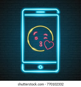 Emoji Love with Phone Neon Light Glowing Graphic Vector Design Blue and Red Yellow Colour Illustration