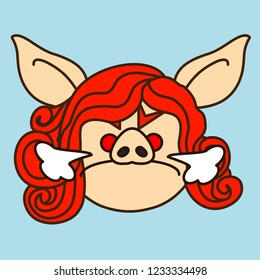 emoji with mad furious redhead pig woman that fizzles like a bull, simple hand drawn emoticon, simplistic colorful picture, vector art with pig-like characters