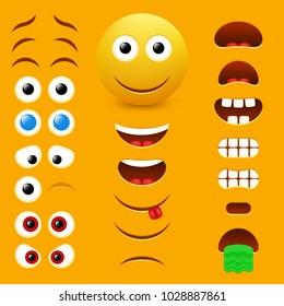 Emoji maker, smiley creator. Vector design collection of emoticon body parts allows you to create your own cool male emojis.