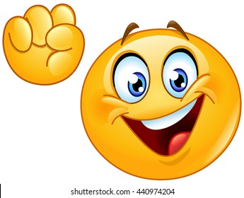 Emoji making power to the people fist hand up gesture.