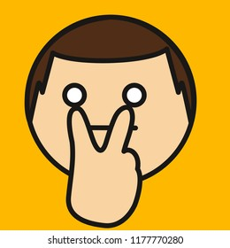 "emoji with man expressing ""watching you"" gesture with fingers pointing to eyes, simple colored emoticon, simplistic colorful pictogram, ball like personage with thick outlines, primitive vector art"