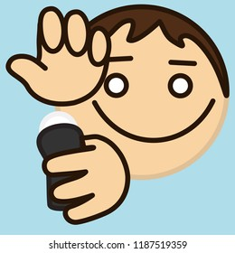 emoji with man that is applying antiperspirant to armpits or underarms to eliminate his scent or bad smell & stop sweating & perspiration, deodorant or body spray usage, simple colored emoticon