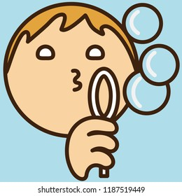 emoji with man that is blowing soap bubbles, fun game with soapy water and a ring, simple colored emoticon, simplistic colorful pictogram, ball like personage with thick outlines, primitive vector art