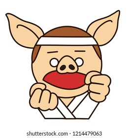 emoji with martial arts fighter pig that is wearing a headband and keikogi uniform for training, karate master holding his fists in fighting position, judoka in judogi, simplistic colorful picture