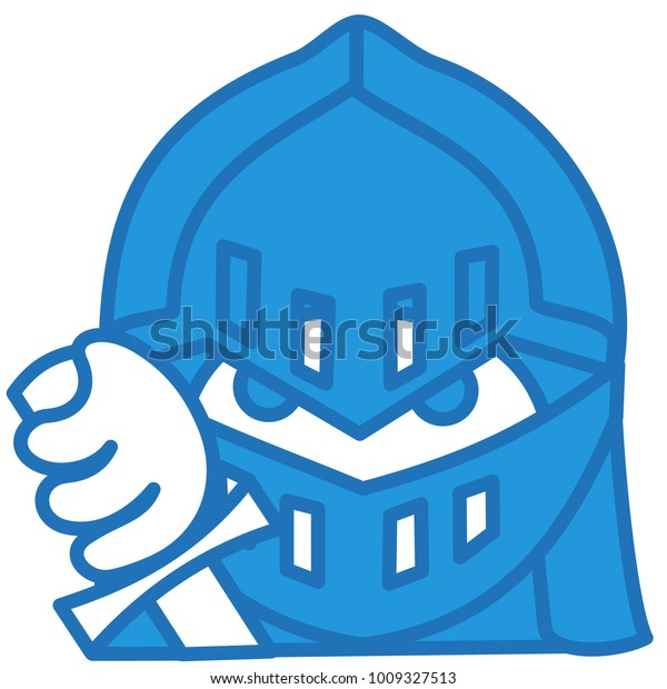 Emoji Medieval Knight Shining Armor Helmet Stock Vector (Royalty