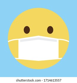 Emoji with mouth mask - yellow face with open eyes wearing a white surgical mask