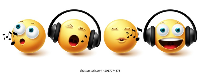 Emoji music emoji vector set. Emojis emoticon with headphones singing and listening icon collection isolated in white background for graphic design elements. Vector illustration