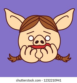 emoji with nervous pig gal with pigtails that bites her nails, simple hand drawn emoticon, simplistic colorful picture, vector art with pig-like characters