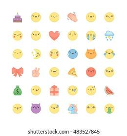 Emoji outline icon vector set. Cute emoticons and symbols.