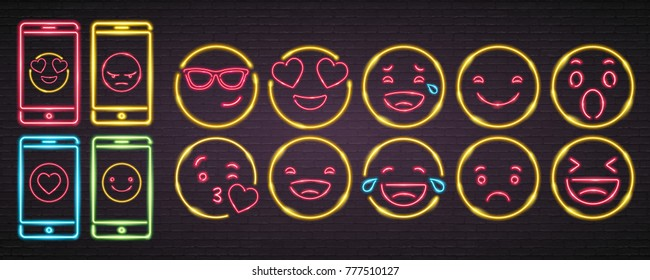 Emoji and Phone Set Symbols Signs Neon Light Glowing Vector Graphic Illustration Bright