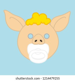 emoji with pig baby with a pacifier or comforter, little kid with nipple or dummy in mouth, simple hand drawn emoticon, simplistic colorful picture, vector art with pig-like characters