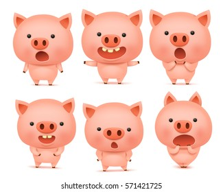 Emoji pig character icon set with different emotions. Vector illustration isolated over white background