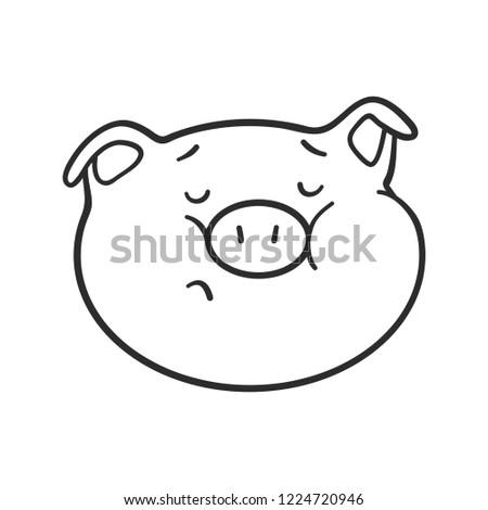 Emoji Pig Coloring Book Emoticon Icon Stock Vector Royalty Free