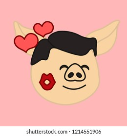 emoji with pig guy that is enjoing a lipstick trace left from a kiss with hearts flying around, vector emoji drawn by hand in color, simplistic colorful picture, simple handdrawn illustration
