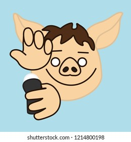 emoji with pig man that is applying antiperspirant to armpits or underarms to eliminate his scent or bad smell & stop sweating & perspiration, deodorant or body spray usage, simple hand drawn emoticon
