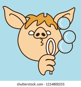 emoji with pig man that is blowing soap bubbles, fun game with soapy water and a ring, simple hand drawn emoticon, simplistic colorful picture, vector art with pig-like characters