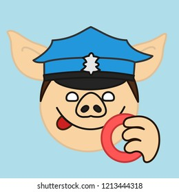 emoji with pig police officer or policeman that is wearing a green uniform peaked cap smacking his lips before eating a donut, simple hand drawn emoticon, simplistic colorful picture