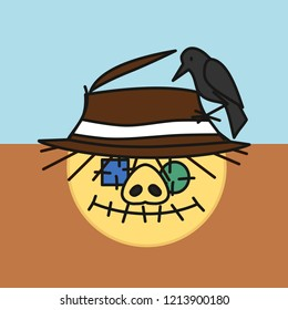 emoji with pig scarecrow made out of old fabric with eye patches and stitched mouth with crow sitting on its worn straw hat, simple hand drawn emoticon, simplistic colorful picture