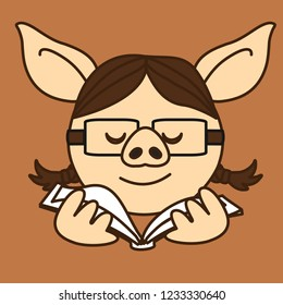 emoji with pig school girl or a university student woman who is wearing glasses while studying or reading a book, simple hand drawn emoticon, simplistic colorful picture, eps 10 vector clip art