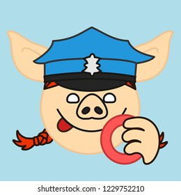 emoji with pig woman police officer or policewoman that is wearing a green uniform peaked cap smacking her lips before eating a donut, simple hand drawn emoticon, simplistic colorful picture