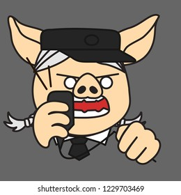 emoji with pig woman security officer, surveillance watchman,train station dispatcher or traffic controller in uniform with cap,shirt & tie shouting into loudspeaker while squeezing cord in anger