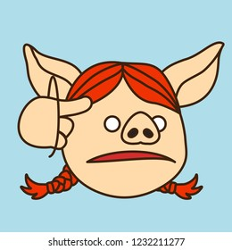 emoji with pig woman shows a screw loose or you're nuts gesture by twisting her finger around her temple, simple hand drawn emoticon, simplistic colorful picture, vector art with pig-like characters
