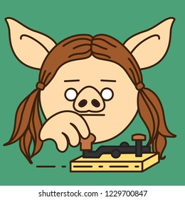 emoji with pig woman telegrapher operating vintage electro mechanical broadcaster to send telegram, radio telegraph operator sending morse code encoded text message with retro transmitter device