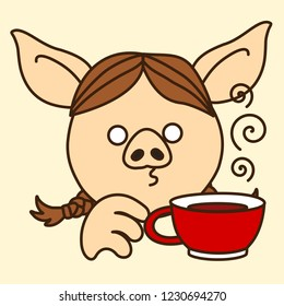 pig with coffee images stock photos amp vectors shutterstock