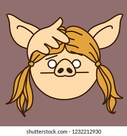 emoji with pig woman that is feeling woe or having a headache & covering her head with palm to reduce pain or check body temperature, simple hand drawn emoticon, simplistic colorful picture