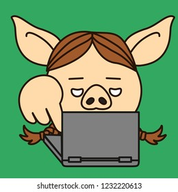 emoji with pig woman that is pressing a notebook keyboard button with finger, simple hand drawn emoticon, simplistic colorful picture, vector art with pig-like characters