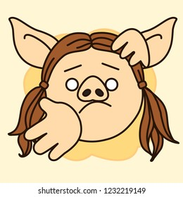 emoji with pig woman that is shrugging her shoulders and showing that she has no idea about something, simple hand drawn emoticon, simplistic colorful picture, vector art with pig-like characters