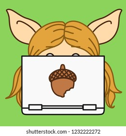 emoji with pig woman that is sitting behind a laptop computer or a notebook, simple hand drawn emoticon, simplistic colorful picture, vector art with pig-like characters