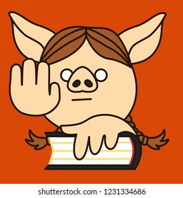 emoji with pig woman that is swearing an oath on a bible, simple hand drawn emoticon, simplistic colorful picture, vector art with pig-like characters